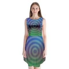 Blue Green Abstract Background Sleeveless Chiffon Dress