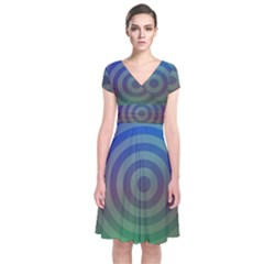 Blue Green Abstract Background Short Sleeve Front Wrap Dress