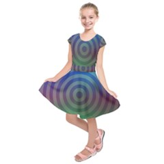 Blue Green Abstract Background Kids  Short Sleeve Dress