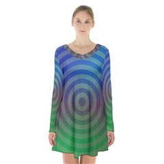 Blue Green Abstract Background Long Sleeve Velvet V Neck Dress