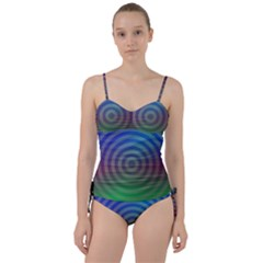 Blue Green Abstract Background Sweetheart Tankini Set