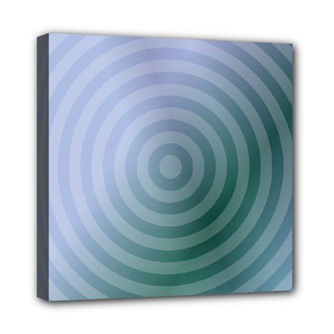 Teal Background Concentric Mini Canvas 8  X 8