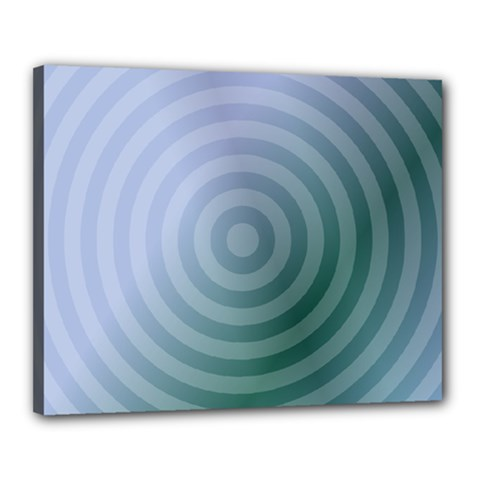 Teal Background Concentric Canvas 20  X 16  by Nexatart