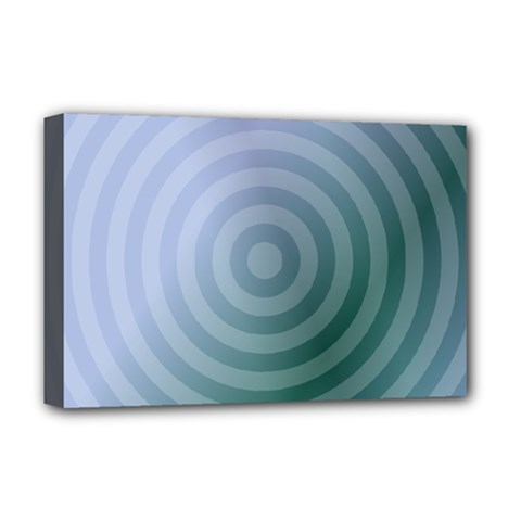 Teal Background Concentric Deluxe Canvas 18  X 12
