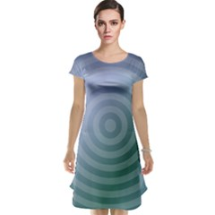 Teal Background Concentric Cap Sleeve Nightdress