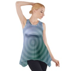 Teal Background Concentric Side Drop Tank Tunic