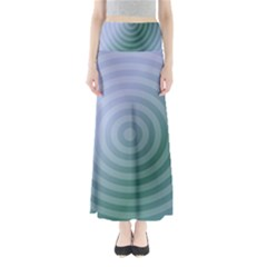 Teal Background Concentric Full Length Maxi Skirt