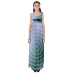Teal Background Concentric Empire Waist Maxi Dress
