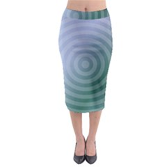 Teal Background Concentric Midi Pencil Skirt