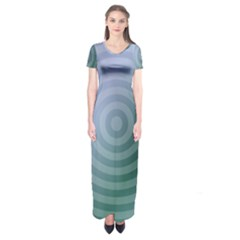 Teal Background Concentric Short Sleeve Maxi Dress