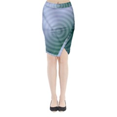 Teal Background Concentric Midi Wrap Pencil Skirt