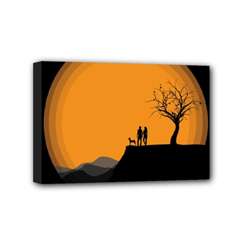 Couple Dog View Clouds Tree Cliff Mini Canvas 6  X 4  by Nexatart