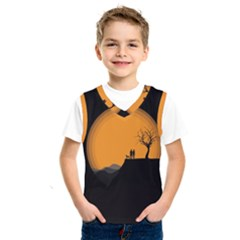 Couple Dog View Clouds Tree Cliff Kids  Sportswear