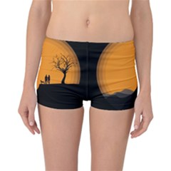 Couple Dog View Clouds Tree Cliff Reversible Boyleg Bikini Bottoms