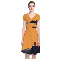 Couple Dog View Clouds Tree Cliff Short Sleeve Front Wrap Dress