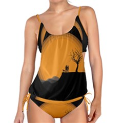 Couple Dog View Clouds Tree Cliff Tankini Set