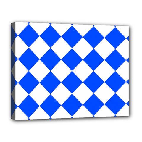 Blue White Diamonds Seamless Canvas 14  X 11