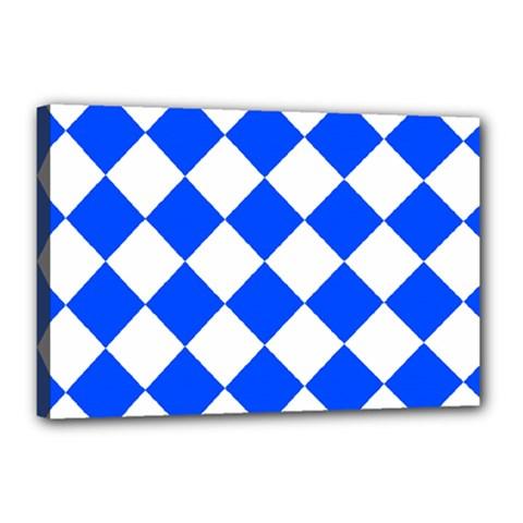 Blue White Diamonds Seamless Canvas 18  X 12  by Nexatart
