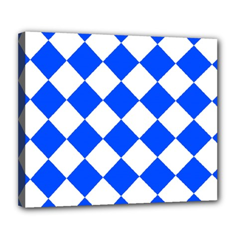Blue White Diamonds Seamless Deluxe Canvas 24  X 20   by Nexatart