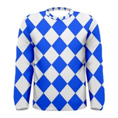 Blue White Diamonds Seamless Men s Long Sleeve Tee