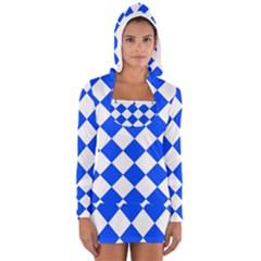 Blue White Diamonds Seamless Long Sleeve Hooded T Shirt