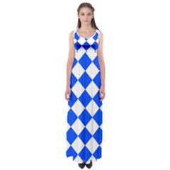 Blue White Diamonds Seamless Empire Waist Maxi Dress