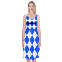 Blue White Diamonds Seamless Midi Sleeveless Dress