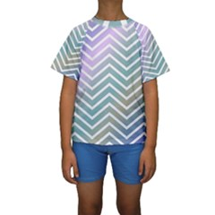 Zigzag Line Pattern Zig Zag Kids  Short Sleeve Swimwear