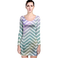 Zigzag Line Pattern Zig Zag Long Sleeve Bodycon Dress