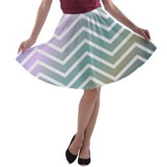 Zigzag Line Pattern Zig Zag A Line Skater Skirt