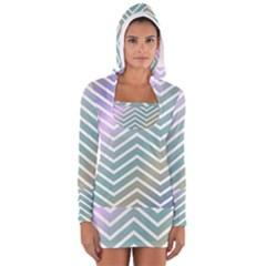 Zigzag Line Pattern Zig Zag Long Sleeve Hooded T Shirt