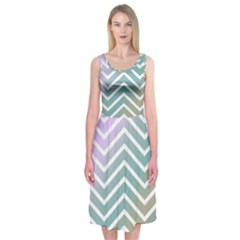 Zigzag Line Pattern Zig Zag Midi Sleeveless Dress