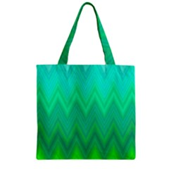 Green Zig Zag Chevron Classic Pattern Zipper Grocery Tote Bag by Nexatart