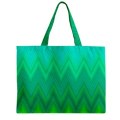 Green Zig Zag Chevron Classic Pattern Zipper Mini Tote Bag