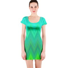 Green Zig Zag Chevron Classic Pattern Short Sleeve Bodycon Dress