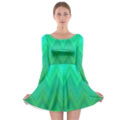 Green Zig Zag Chevron Classic Pattern Long Sleeve Skater Dress