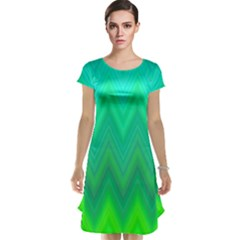 Green Zig Zag Chevron Classic Pattern Cap Sleeve Nightdress
