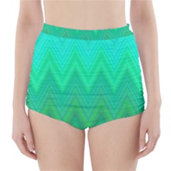 Green Zig Zag Chevron Classic Pattern High Waisted Bikini Bottoms