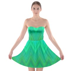 Green Zig Zag Chevron Classic Pattern Strapless Bra Top Dress