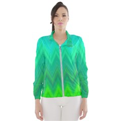 Green Zig Zag Chevron Classic Pattern Wind Breaker (women)