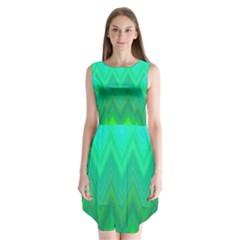 Green Zig Zag Chevron Classic Pattern Sleeveless Chiffon Dress
