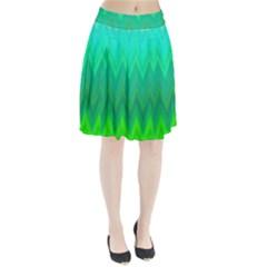 Green Zig Zag Chevron Classic Pattern Pleated Skirt
