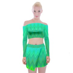 Green Zig Zag Chevron Classic Pattern Off Shoulder Top With Skirt Set