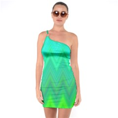 Green Zig Zag Chevron Classic Pattern One Soulder Bodycon Dress