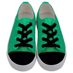 Green Zig Zag Chevron Classic Pattern Kids  Low Top Canvas Sneakers