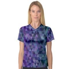 Triangle Tile Mosaic Pattern V Neck Sport Mesh Tee