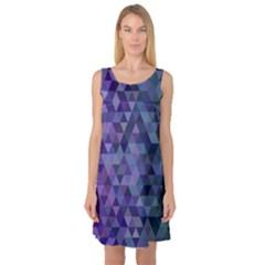 Triangle Tile Mosaic Pattern Sleeveless Satin Nightdress