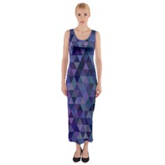 Triangle Tile Mosaic Pattern Fitted Maxi Dress