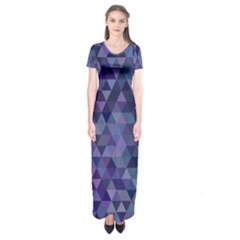 Triangle Tile Mosaic Pattern Short Sleeve Maxi Dress