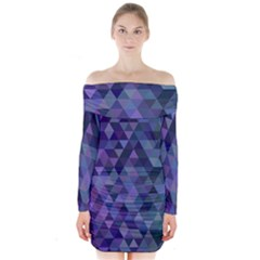Triangle Tile Mosaic Pattern Long Sleeve Off Shoulder Dress